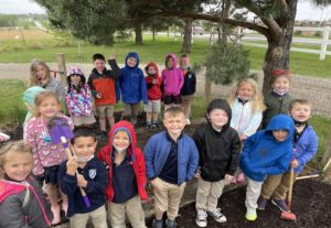 Jr-K Students Planting Watermelon Seeds
