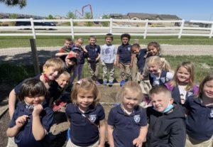 Kindergarten planting the garden